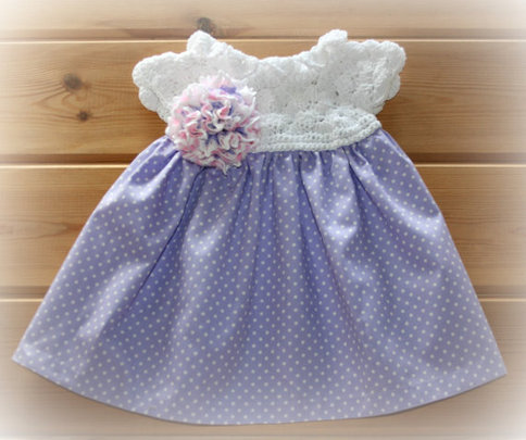 Newborn Fabric Amp Crochet Lace Baby Girl Clothes Dress 0