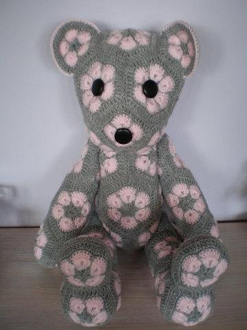 Handmade Crochet Toys Teddy Bear African Flower Amigurumi